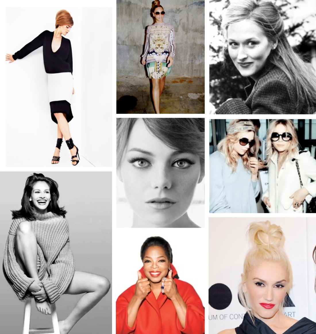 (top, left to right) from Tom Ford's SS13 collection, Lady Bey, Meryl Streep, Julia Roberts, Emma Stone, Mary Kate & Ashley, Oprah, Gwen Stefani