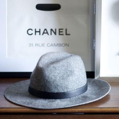 Grey wool wide brimmed hat