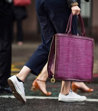 Unisex Chuck Taylors plus a handbag in a feminine shade of plum