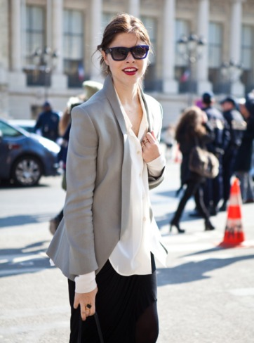 Into The Gloss' Emily Weiss in a grey blazer a bold red lip