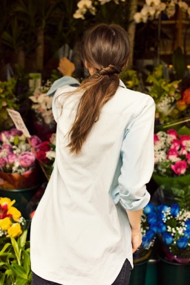 Just browsing for flowers looking effortless in a chambray she stole from her man