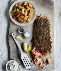 Fennel and dill-crusted salmon with lemon potatoes- kissing summer goodbye & making this for our Labor Day dinner