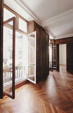 Herringbone hardwood floor & french doors